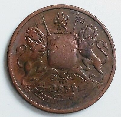 Very Rare Year *1835* East India Company Half Anna Coin, In Brilliant Condition