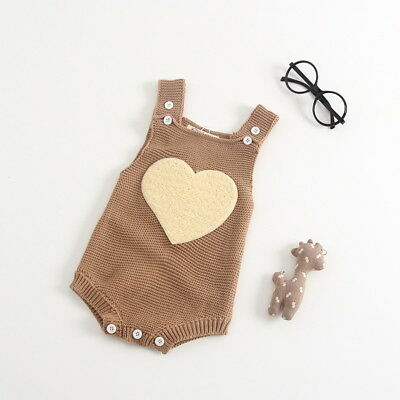 Beautiful Beige/Brown Knitted Heart Romper **Free P&P + UK Seller**