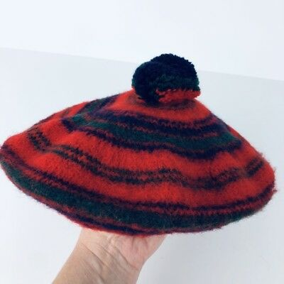 d19969ce Vintage Red Robertson 100% Pure New Wool Scottish Tam Hat Beret Scotland Red