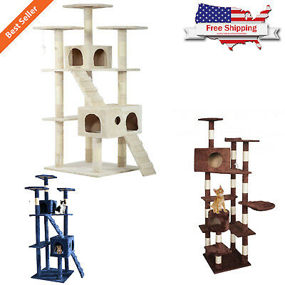 "73"" Cat Tree Scratcher Play House Tower Condo Furniture Bed Post Pet"