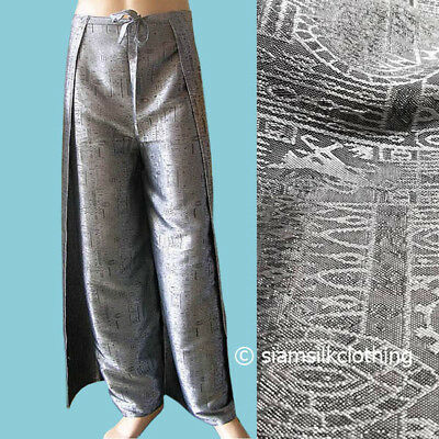 a5e0d887f77 Harem Pants Thai Silk Yoga Wrap Women s Plus Size Silver Boho Fisherman  Trousers