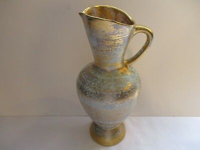Vtg ~ Stangl Pottery #4063 ~  Large Pitcher Antique Gold With Turquoise  Wash