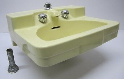 Vtg MCM 1950s Crane Drexel Henry Dreyfuss Wall Mount Bathroom Sink Yellow As Is