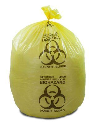 """Infectious Linen Trash Bags 30"""" x 43"""". Pack of 200 Yellow Medical Waste Bags."""