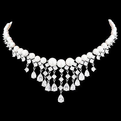 100% Natural 8Mm Freshwater Pearl & White Cz Huge Design Silver 925 Necklace