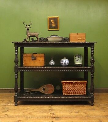 Antique Victorian Carved Tiered Buffet Sideboard Serving Display Unit