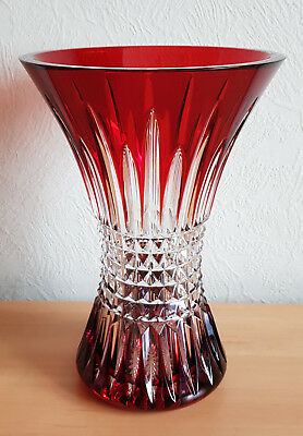 "Waterford Lismore Diamond Ruby Red Vase, 8"", No Stamp"