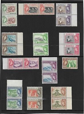 DOMINICA 1954-62 PART SET TO 48c. IN MNH PAIRS. (+10c. single) SG. 141-155 (453)