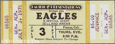 1 1975 EAGLES VINTAGE UNUSED FULL CONCERT TICKET FRESNO YELLOW  laminated repro