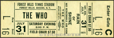 1 1971 THE WHO VINTAGE UNUSED FULL CONCERT TICKET Queens NY laminated repro