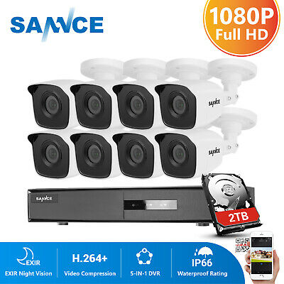 SANNCE 5in1 4CH 8CH 1080P HDMI DVR 2MP Outdoor Security Camera System IR CUT HDD
