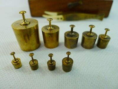 vintage Germany set of 9 brass weights in their original hinged lid wooden box