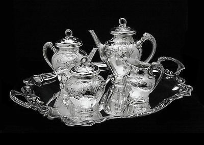 WISKEMANN 5 pc. ART NOUVEAU SILVER PLATED TEA COFFEE SET WITH TRAY - 1890s !!