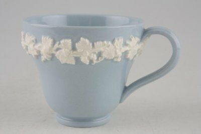 Wedgwood - Queen's Ware - White Vine on Blue - Plain Edge - Coffee Cup - 69961G