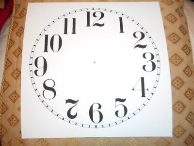 "Square Paper Clock Dial - 8"" M/T - Arabic-  MATT WHITE - Face/Clock Parts/Spares"