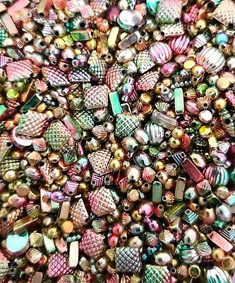 Mixed Gold, Silver, Rainbow & Copper spacer Beads Jewellery Charms for Crafts