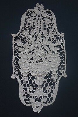 Vintage Antique Venetian Lace Medallion Insert Point de Venise Vase Urn Roses