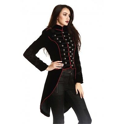 """Gothic Steampunk Black Velvet Military """"Pentagramme"""" Jacket with Red Piping"""