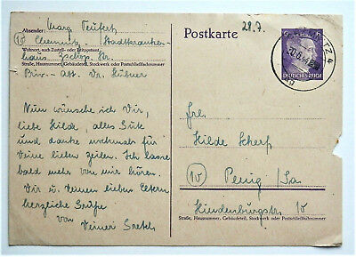 1944 WW2 REAL GERMAN 3rd REICH ERA POSTCARD / FELDPOST NICE USED