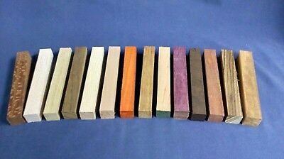 Exotic Wood Pen blanks 14 different species - wenge zebrano purpleheart padauk.
