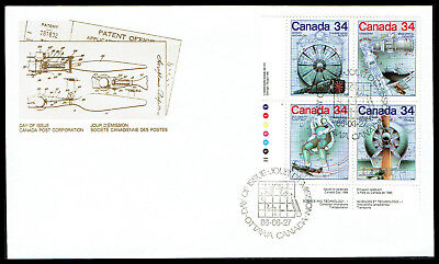 Canada FDC - 1986 - Science & Canadian Inovation, Scott # 1102a, Plate Block