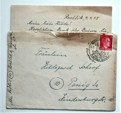1945 WW2 REAL GERMAN 3rd REICH ERA MILITARY COVER WITH LETTER FELDPOST