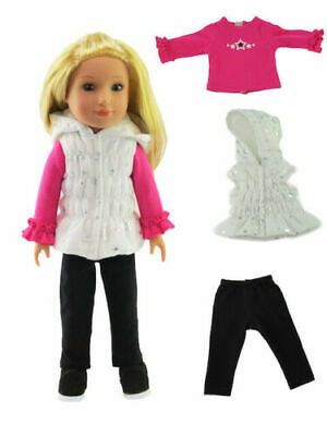 """4pc GOLD HEART SET Pants Vest Shirt Boots fit American Girl 14.5/"""" WELLIE WISHERS"""