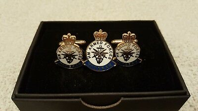 H M Armed Forces Veteran Pin Badge And Matching Cufflinks.