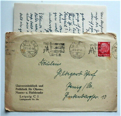 1942 WW2 REAL GERMAN 3rd REICH A. HITLER  ERA COVER WITH LETTER NICE LEIPZIG