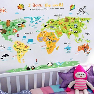 Cartoon World Map Self Adhesive Vinyl Wall Stickers For Children Kids Bedroom