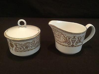 Covered Sugar Bowl And Creamer In Royal Worcester Hyde Park Raised Gold Rim