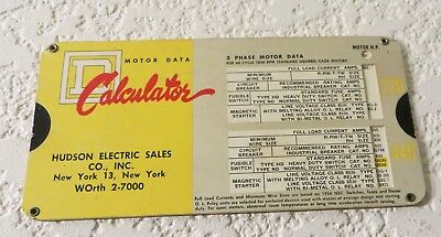 Vintage Square D Company Motor Data Cardboard Calculator Slide Chart 1958