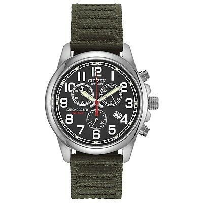 Citizen Eco-Drive Men's Chronograph Green Canvas Strap 39mm Watch AT0200-05E