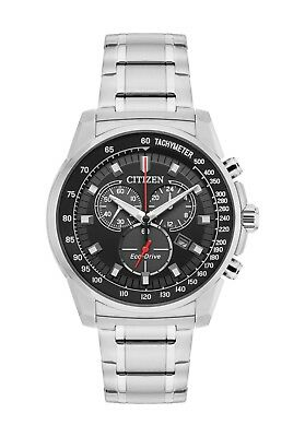 Citizen Men's Eco-Drive Chronograph Silver-Tone Bracelet 44mm Watch AT2370-55E