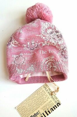 John Galliano Girls PINK GUANTO Pom Knitted Printed Beanie Hat Size 1 3-6M £40