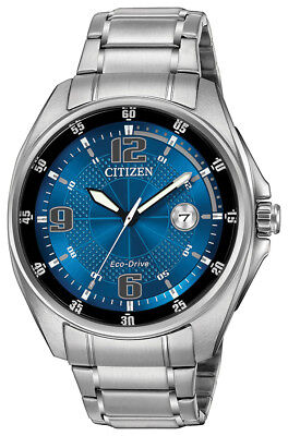 Citizen Men's Eco-Drive Blue Dial Silver-Tone Bracelet 42mm Watch AW1510-54L