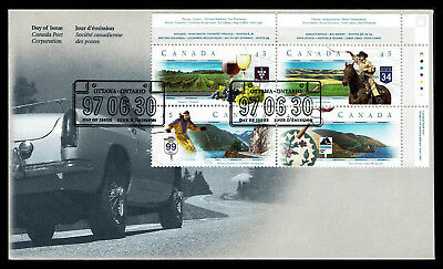 Canada FDC - 1997 - Canadian Scenic Highways, Scott # 1653a, Plate Block