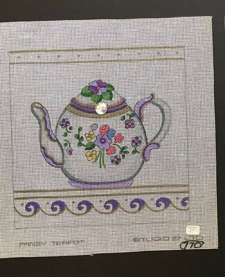 "Studio 2 Ltd. Hand-painted Canvas ""PANSY TEAPOT""/50% OFF/ENDS 2/28!"