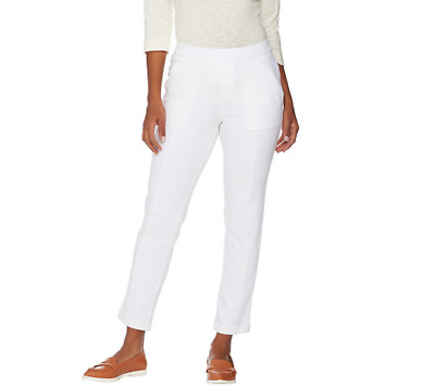 Women's Clothing Clothing, Shoes & Accessories Isaac Mizrahi Knit Denim Pull-on Ankle Jeans Bright White P2 New A289609