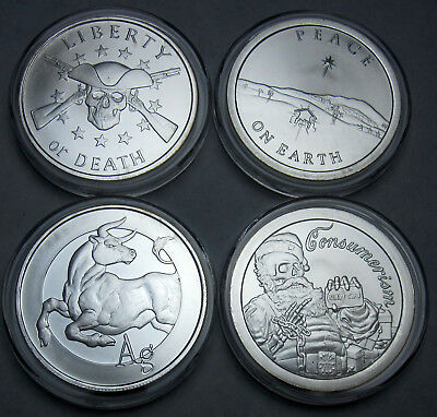Lot of 4 - Assorted Silver Round Shields Coin 1 oz .999 Fine Silver BU 2 SBSS