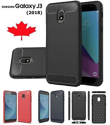 For Samsung Galaxy J3 2018 Carbon Fiber Armour TPU Heavy Duty Cover Case