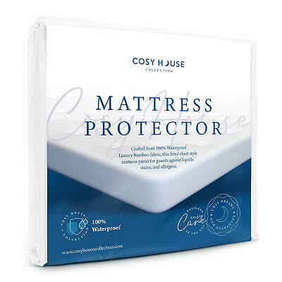 Waterproof Mattress Protector Luxury Bamboo Hypoallergenic Fitted Bed Cover Pad