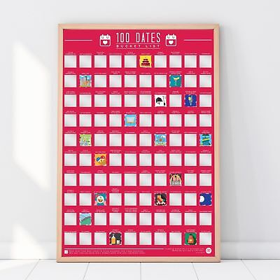 100 Bucket List Scratch Off Poster Dates Valentines Birthday Couple Dating Gift