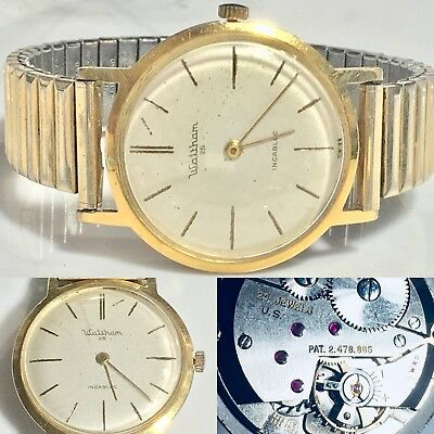 Vintage 50s 60s Waltham 25 Jewel Incabloc 1525 1526 AS Schild Mens Wrist Watch