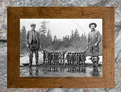 """Vintage Fishing ... Stringer of Trout & Fly Rods... Antique 5"""" x 7"""" Photo Print"""