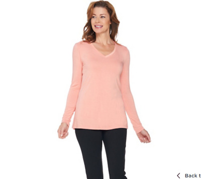 fc07ae6ab5ee99 H by Halston Essentials V-Neck Long Sleeve Knit Top SAND DUNE Color Size L