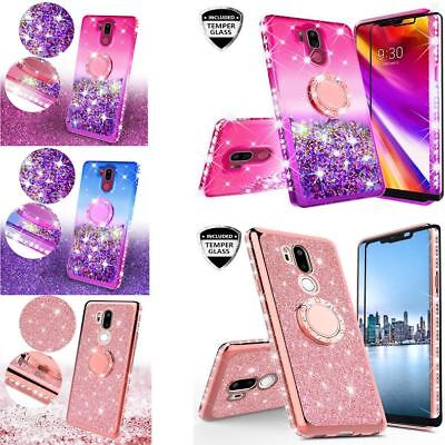 LG G7 ThinQ Shock Proof Liquid Glitter Bumper Ring Kickstand W/ Temper Glass