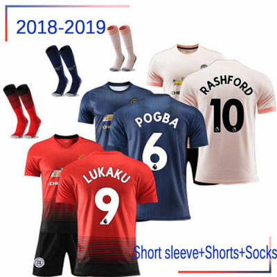 18/19 Boys Football Outfit Soccer Full Strips with Socks Kids Training Suits