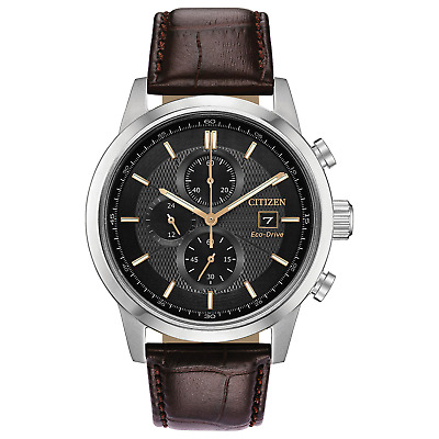 Citizen Eco-Drive Men's Chronograph Brown Leather Strap 43mm Watch CA0611-09H