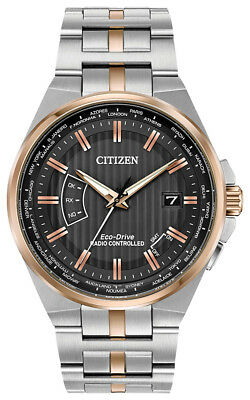 Citizen Men's Eco-Drive Perpetual A-T World Time Black Dial Watch CB0166-54H
